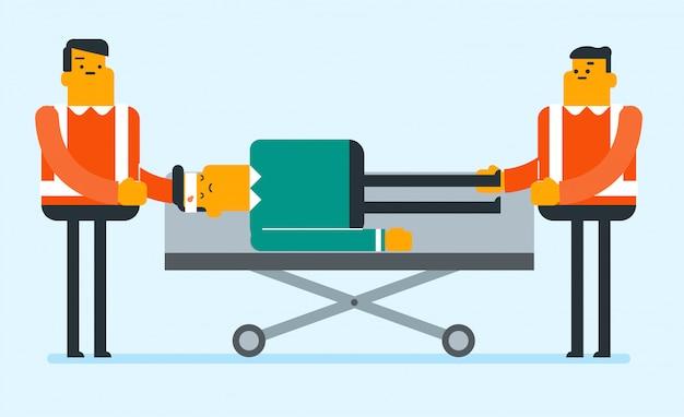 Spoedgevallen artsen die de mens op brancard vervoeren.