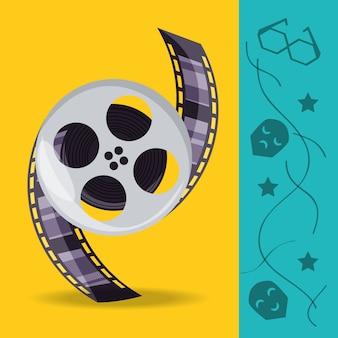 Spoel met filmstrips naar productie van cinematografie