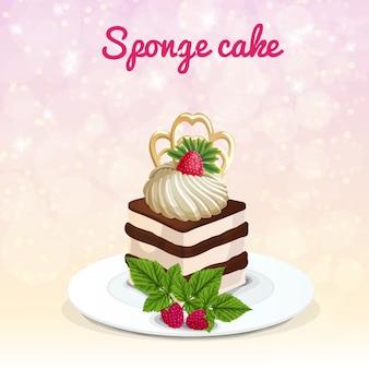 Sponge cake illustratie