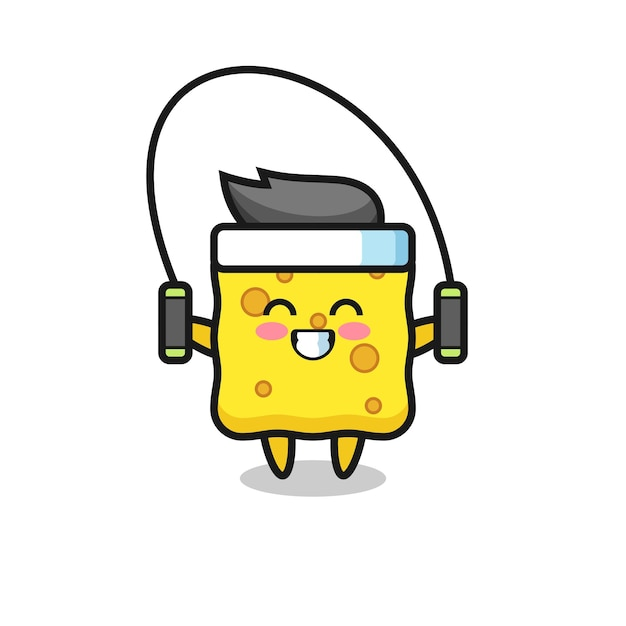 Spons karakter cartoon met springtouw, schattig stijlontwerp voor t-shirt, sticker, logo-element