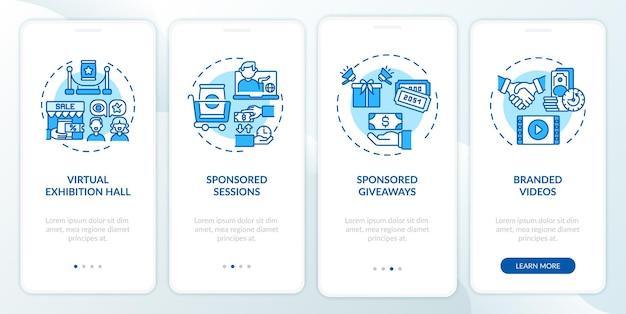 Sponsoring ideeën voor externe evenementen op het scherm van de mobiele app-pagina met concepten
