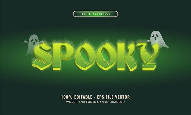 Spookachtig bewerkbaar teksteffect premium vecto