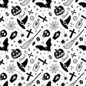 Spookachtig halloween naadloos achtergrondpatroon
