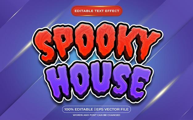 Spookachtig huis bewerkbaar tekststijleffect geschikt voor halloween-evenement