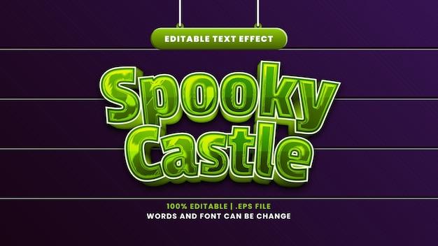 Spookachtig kasteel bewerkbaar teksteffect in moderne 3d-stijl