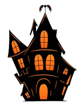 Spookachtig oud huis voor halloween. vector silhouet van eng oud huis. mystiek spookachtig huis met vleermuis. zwart halloween-kasteel.