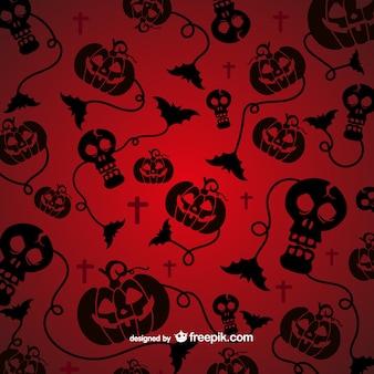 Spookachtig patroon voor halloween met zwarte silhouetten