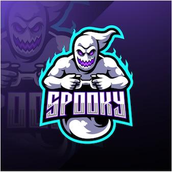 Spookachtig spook esport mascotte logo ontwerp