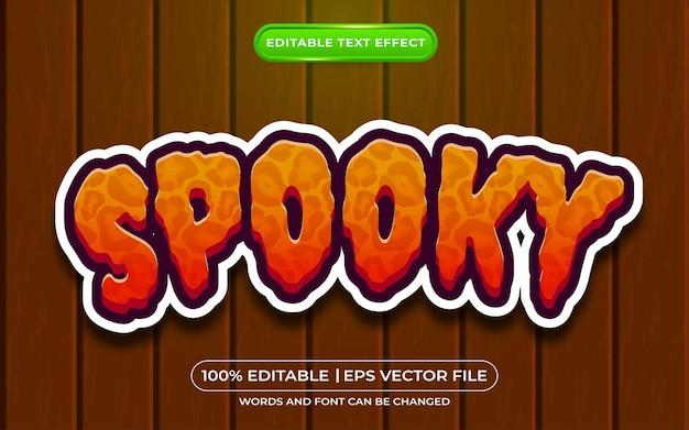 Spookachtige bewerkbare teksteffect cartoonstijl