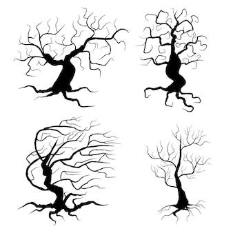 Spookachtige bomen instellen vectorillustratie halloween-elementen geïsoleerd op een witte achtergrond