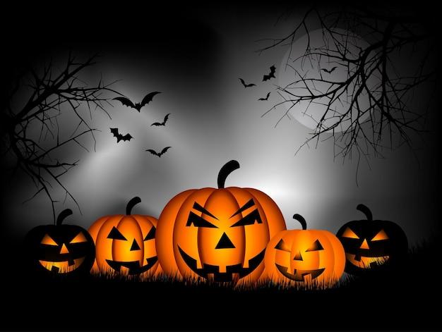 Spookachtige halloween-achtergrond met pompoenen en vleermuizen
