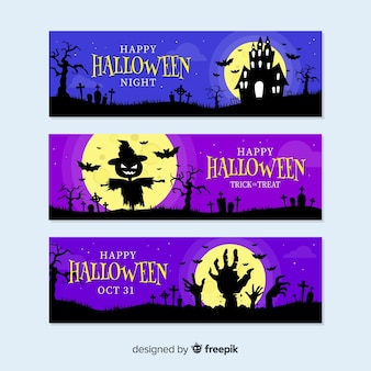 Spookachtige halloween-decoratiebanners