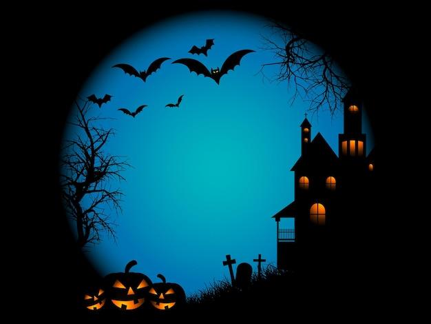 Spookachtige landschapsscène op halloween-nacht