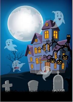 Spookhuis en geest met halloween-achtergrond