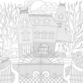 Spookhuis, gelukkig halloween. illustratie