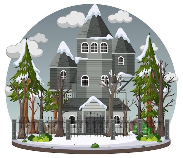 Spookhuis met grijze lucht Premium Vector