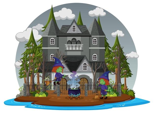 Spookhuis met grijze lucht