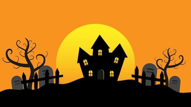 Spookhuis met volle maan en bomen op heuvels cartoon vlakke stijl met kopieerruimte