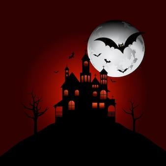 Spookhuis op een heuvel