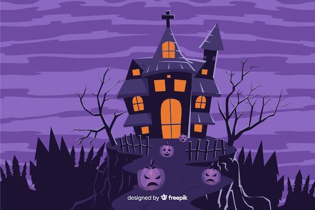 Spookhuis op een heuvelachtergrond