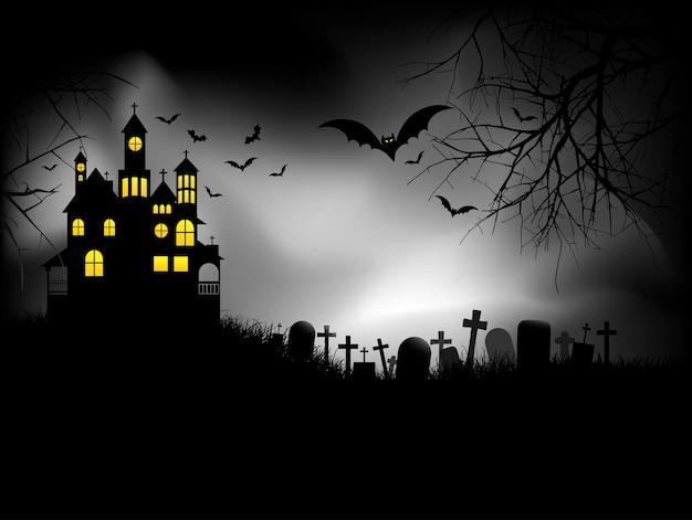 Spookhuis op halloweennacht