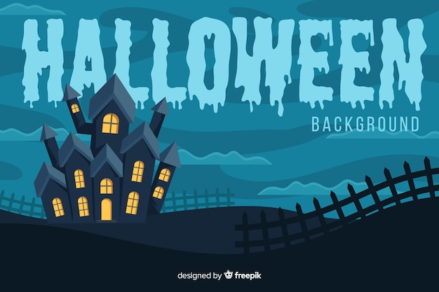 Spookhuisachtergrond in vlak ontwerp