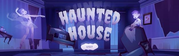 Spookhuisbanner met cartoonillustratie van geesten in oude verlaten woonkamer