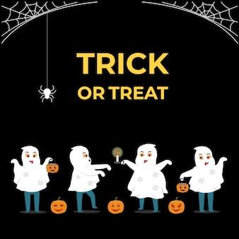 Spookvrienden in halloween-partijconcept