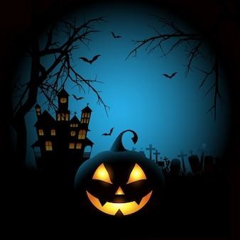 Spooky halloween achtergrond met een pompoen en het spookhuis