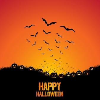 Spooky halloween achtergrond met pompoenen en vleermuizen