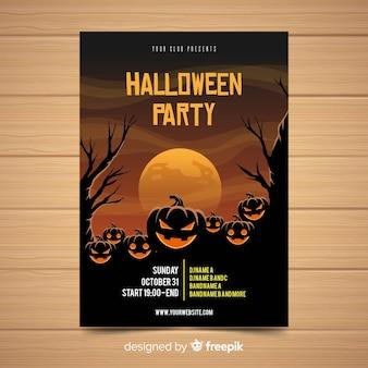 Spooky halloween-feest poster met platte ontwerp