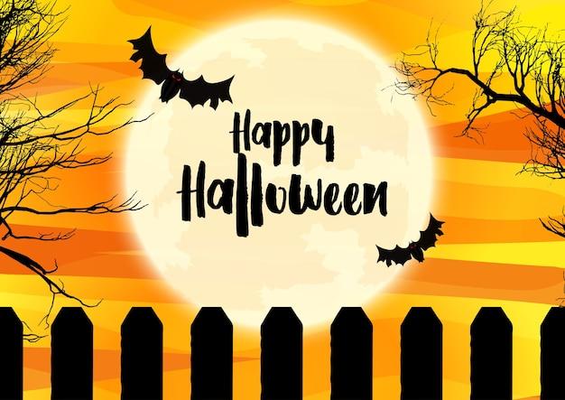 Spooky halloween-landschap met vleermuizen die tegen de maan vliegen