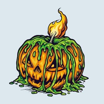 Spooky halloween scary pumpkins candle light