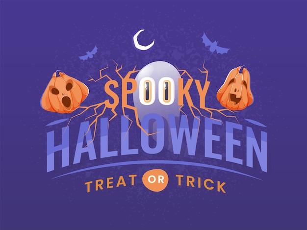 Spooky halloween treat or trick-tekst met ghost, jack-o-lanterns, flying bats en crescent moon op paarse achtergrond.