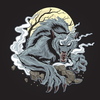 Spooky horor wolf halloween