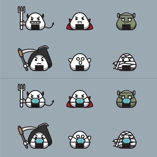 Spooky onigiri karakters illustratie van horror onigiri die een masker draagt en geen masker draagt