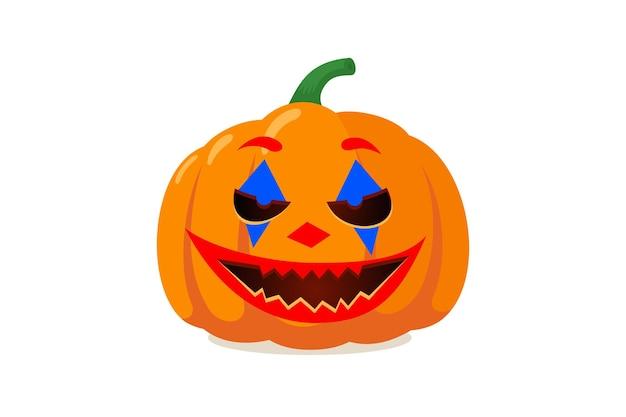 Spooky pompoen jack o lantern met griezelige spook joker clown glimlach halloween vakantie symbool