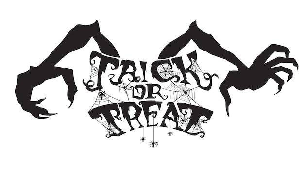Spooky trick or treat tekst met spinnenweb