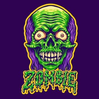 Spooky zombie head en tekst vectorillustraties voor uw werk logo, mascotte merchandise t-shirt, stickers en labelontwerpen, poster, wenskaarten reclame bedrijf of merken.