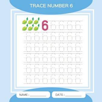 Spoor nummer 6. zes. educatief spel voor kinderen. activiteit voor vroege jaren. preschool werkblad voor het oefenen van fijne motoriek.