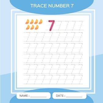 Spoor nummer 7. zeven. educatief spel voor kinderen. activiteit voor vroege jaren. preschool werkblad voor het oefenen van fijne motoriek.