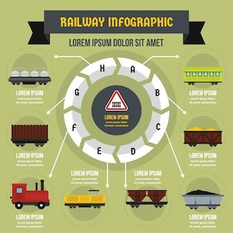 Spoorlijn infographic concept, vlakke stijl