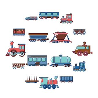 Spoorlijn vervoer icon set, cartoon stijl