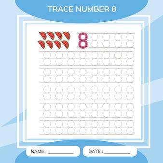Spoornummer 8. acht. educatief spel voor kinderen. activiteit voor vroege jaren. preschool werkblad voor het oefenen van fijne motoriek.