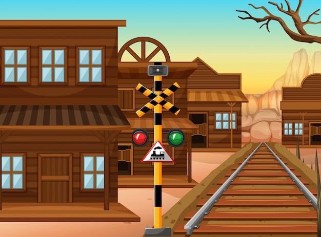 Spoorweg in de westelijke stad