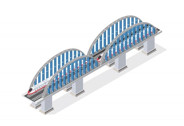 Spoorweg isometrische brug met spoorweg en met hoge snelheid