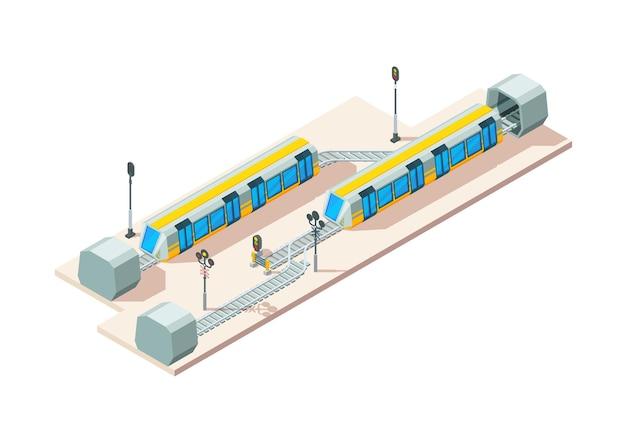 Spoorweg knooppunt. trein spoorwegen business transport bedrijf vector isometrische concept. illustratie spoorweg en spoorweg route knooppunt isometrische stijl
