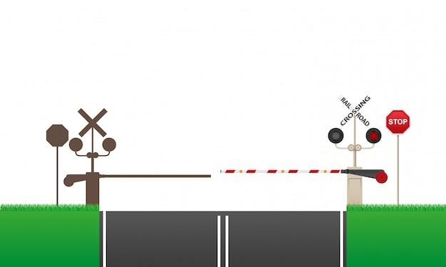 Spoorweg overschrijding van vectorillustratie