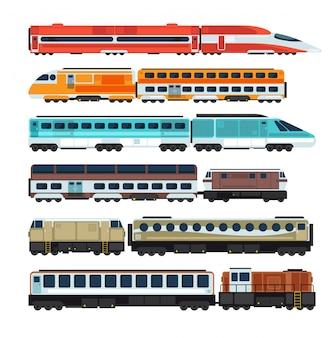 Spoorweg passagierstreinen en rijtuigen. vlakke spoorweg transportset