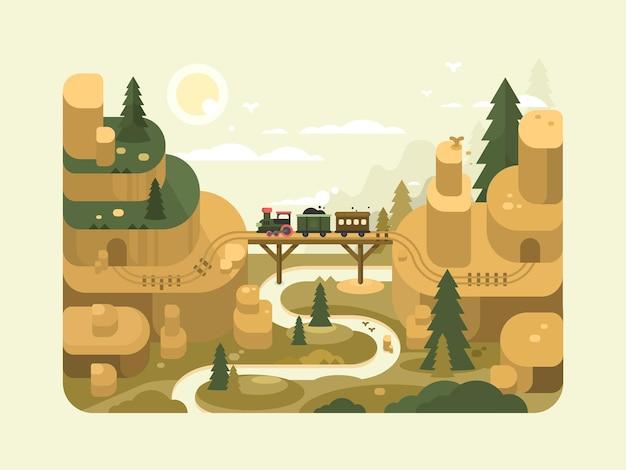 Spoorweg plat ontwerp. trein gaat over een brug. vector illustratie